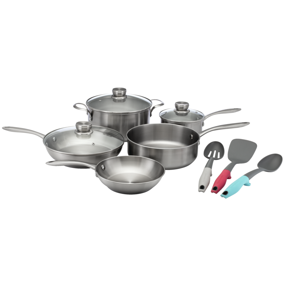 ReadyCook™ 11 Piece Cookware and Utensil Set Stainless Steel 11FFSPAN03