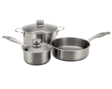 Stainless Cookware Set  with 3 Pans and 2 Lids Stainless Steel 5304513525