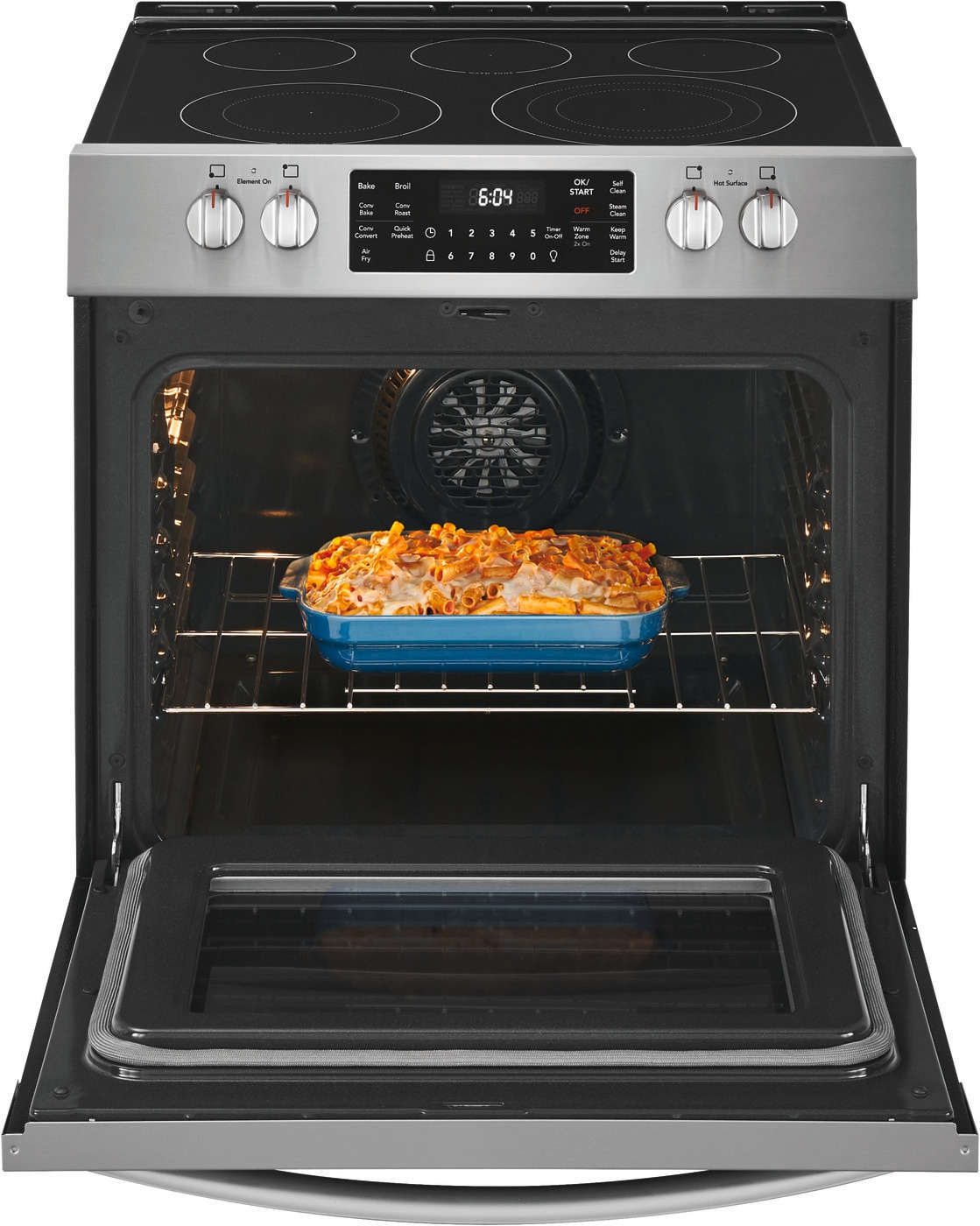 "30"" Front Control Electric Range with Air Fry Stainless Steel CGEH3047VF"