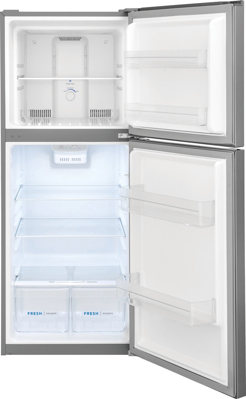 10.1 Cu. Ft. Top Freezer Apartment-Size Refrigerator Brushed Steel FFET1022UV