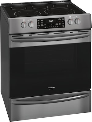 "30"" Front Control Electric Range with Air Fry Black Stainless Steel FGEH3047VD"