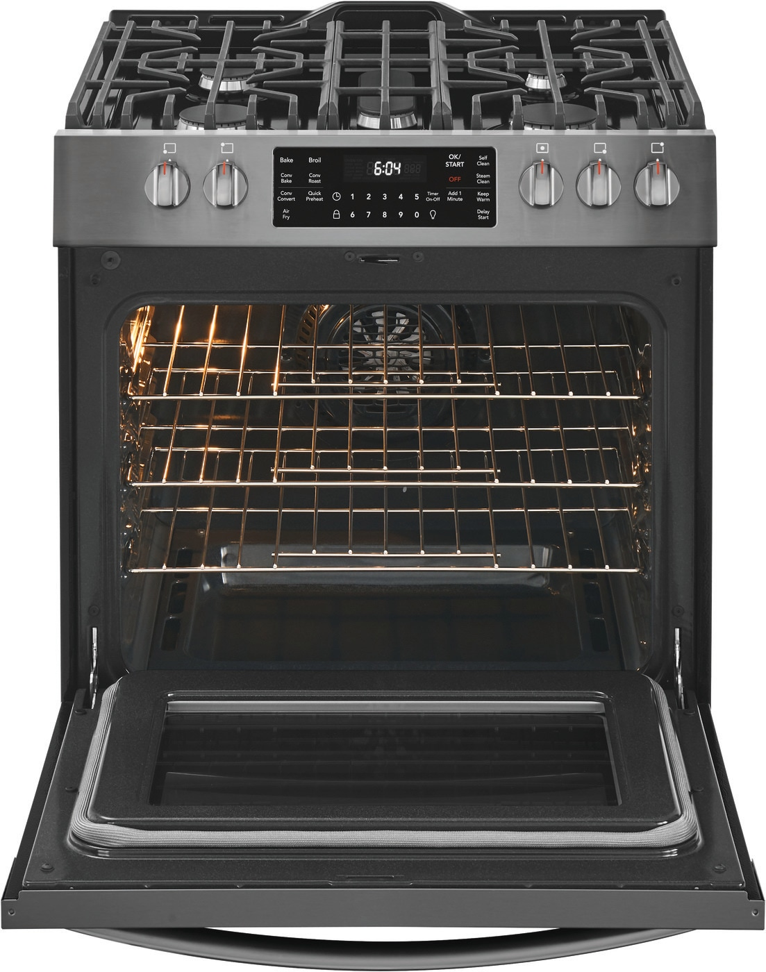 "30"" Front Control Gas Range with Air Fry Black Stainless Steel FGGH3047VD"