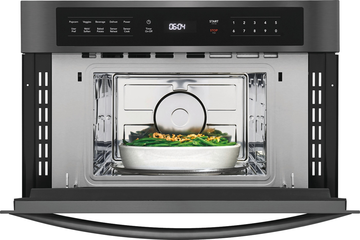 "30"" Built-In Microwave Oven with Drop-Down Door Black Stainless Steel FGMO3067UD"