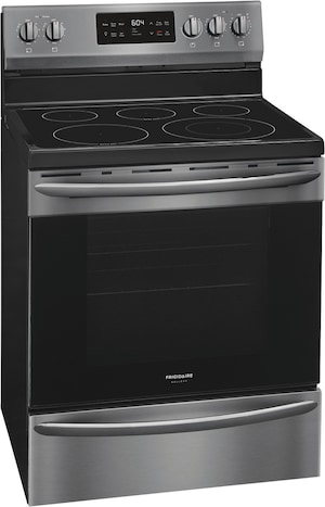 "30"" Freestanding Electric Range with Steam Clean Black Stainless Steel GCRE3038AD"