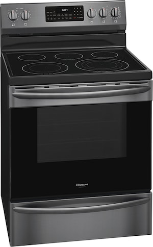 "30"" Freestanding Electric Range with Air Fry Black Stainless Steel GCRE306CAD"