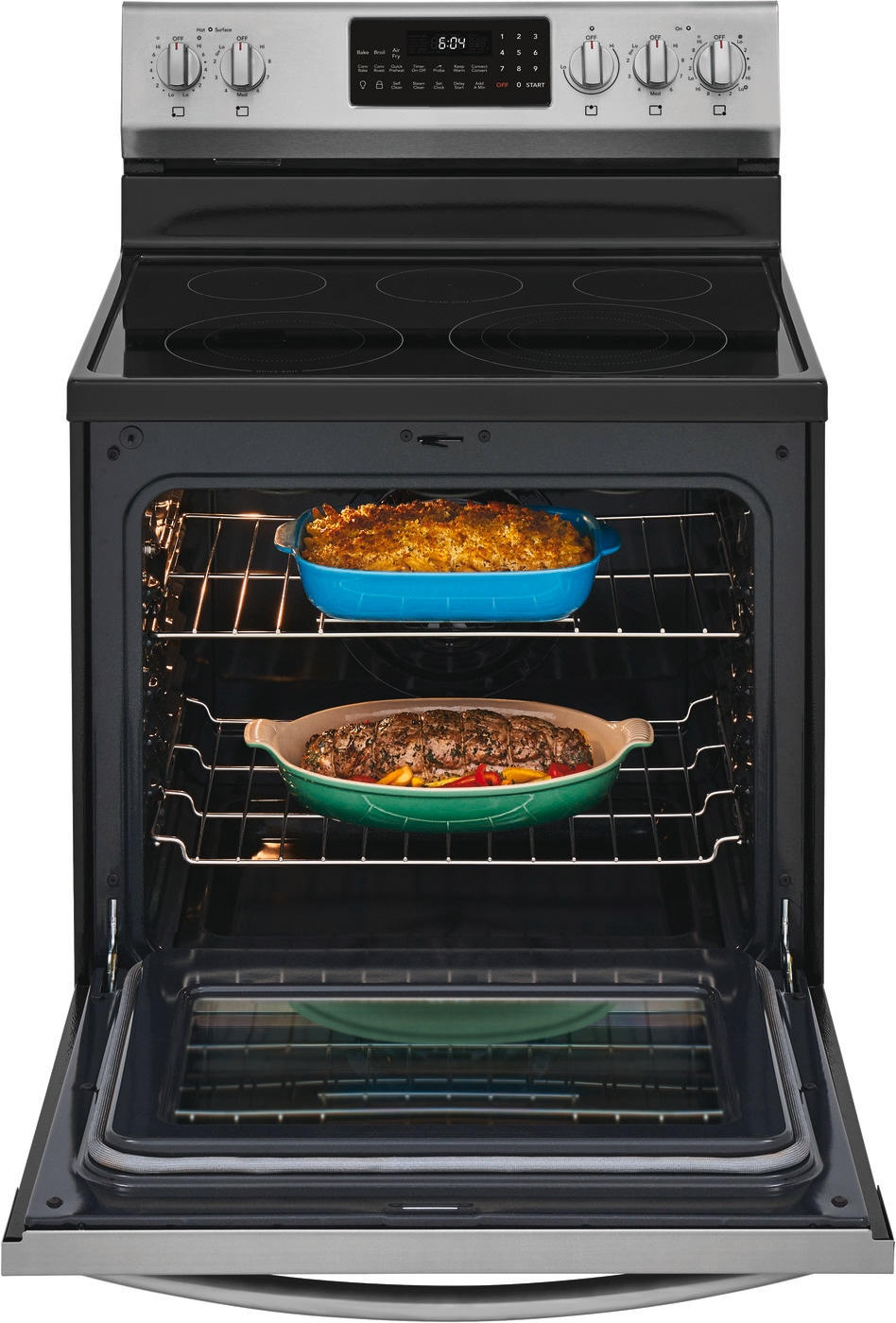 "30"" Freestanding Electric Range with Air Fry Stainless Steel GCRE306CAF"