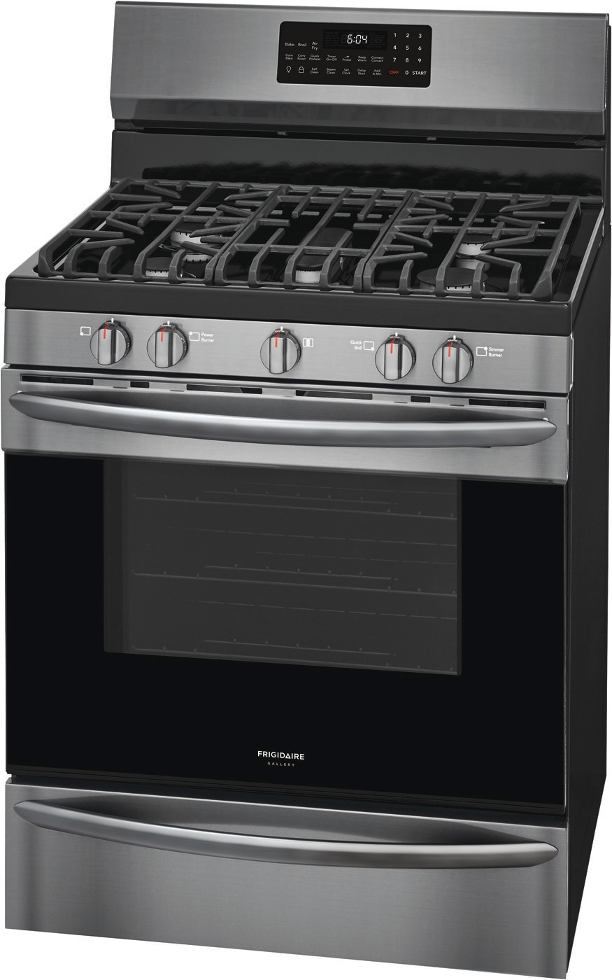 "30"" Freestanding Gas Range with Air Fry Black Stainless Steel GCRG3060AD"
