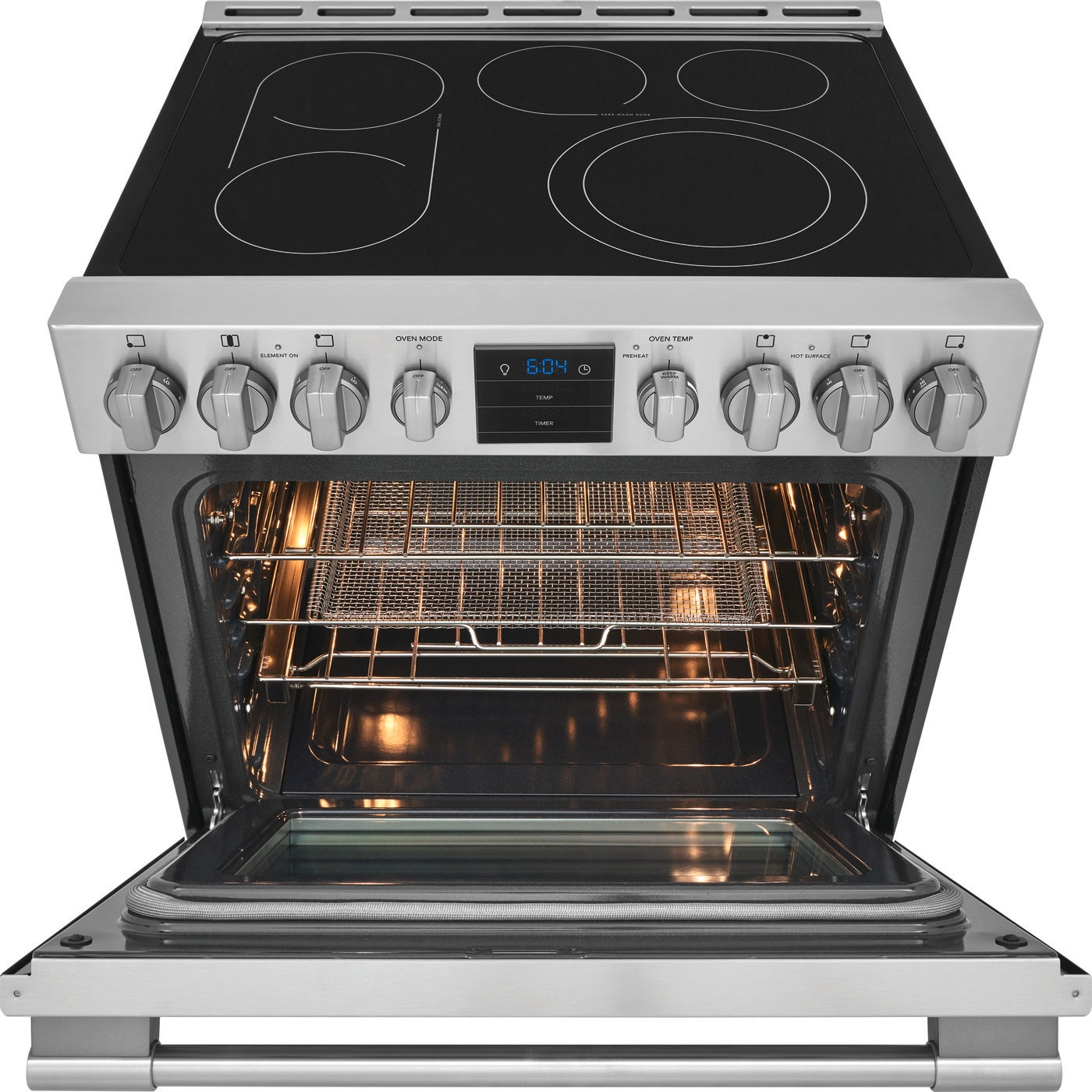 "30"" Front Control Electric Range with Air Fry Stainless Steel PCFE3078AF"
