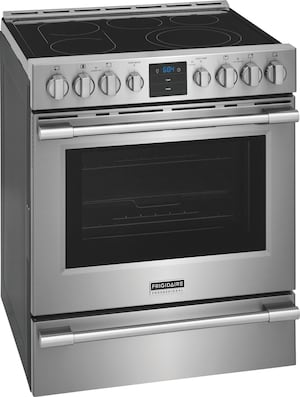 """30"""" Front Control Freestanding Air Fry Range Stainless Steel PCFE307CAF"""