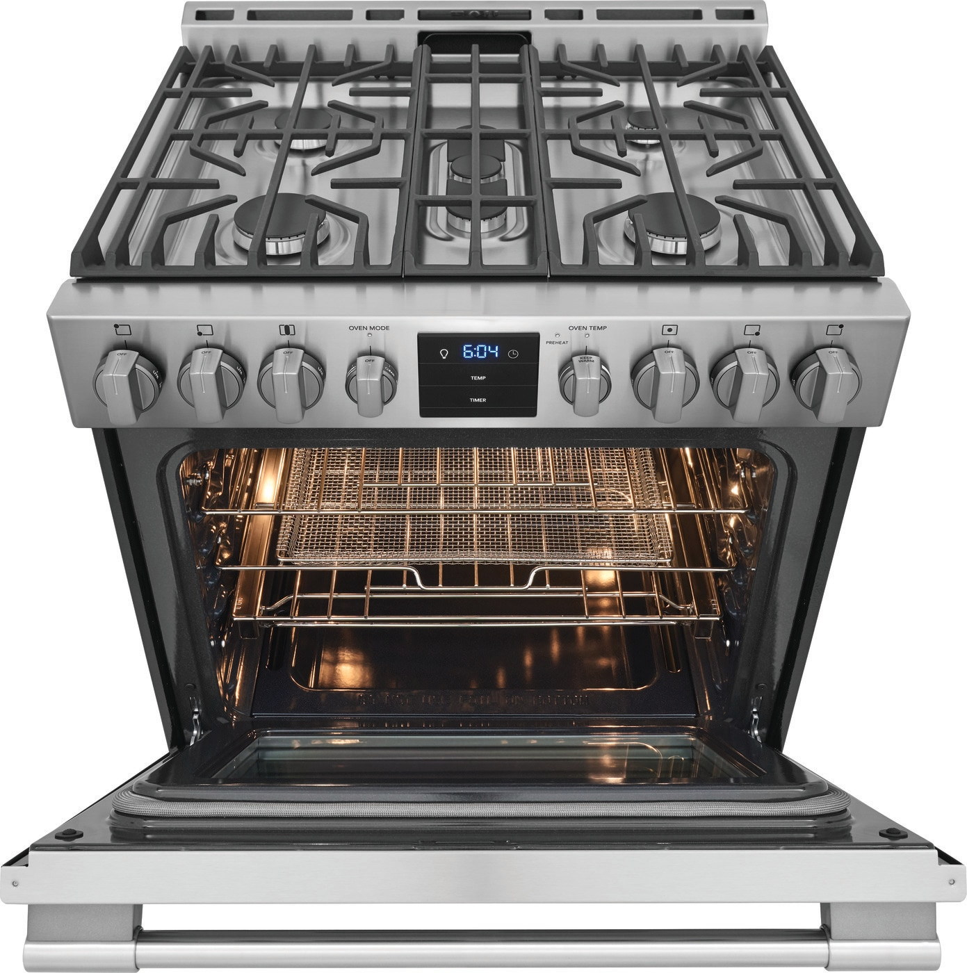 "30"" Front Control Gas Range with Air Fry Stainless Steel PCFG3078AF"